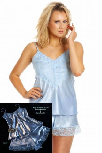 Cute Baby Blue Satin French Knickers & Camisole Set with Lace Trim - UK 10/12 to 26/28